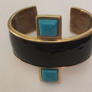 kenneth jay lane black enamel cuff bracelet
